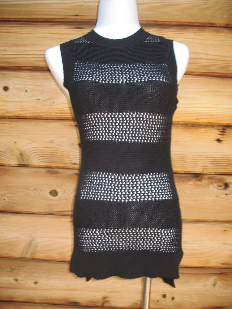 Susana Monaco Sweater Size Small 100% Cotton Open Knit  Tank Black NEW #SusanaMonaco #Crewneck