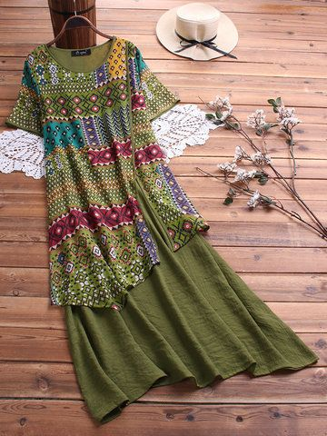 Vintage Plus Size Blouses et Bohe robes pour les femmes Mobile 2