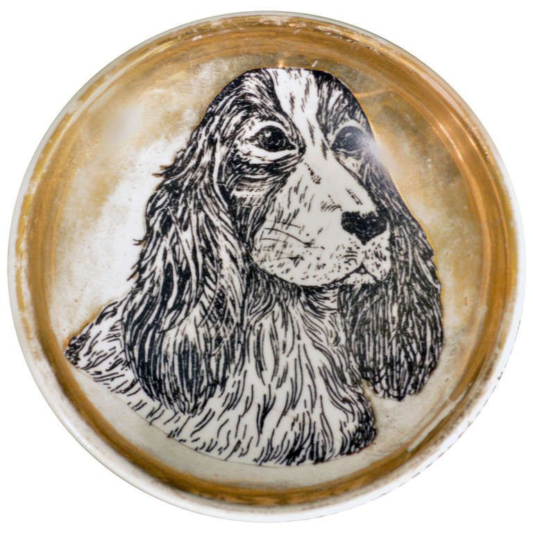 Vintage Piero Fornasetti Dish or Dog Bowl Decorated with a Cocker Spaniel at 1stdibs