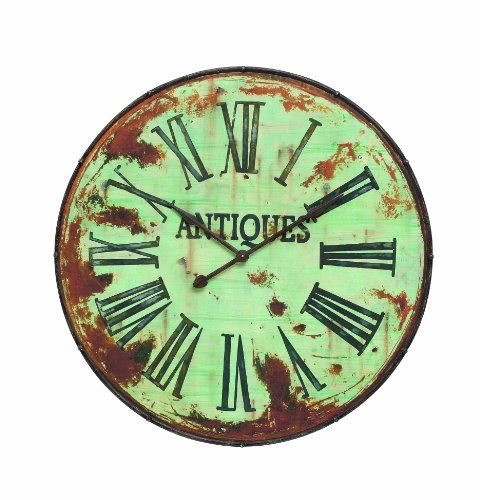 Wall Clocks Décor Creative Coop Country Round Metal Wall Clock 41inch Green You Can Find More Details By V Clock Wall Decor Oversized Wall Clock Wall Clock