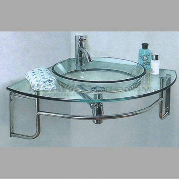 Transparent Tempered Glass Bathroom Vanities For Vessel Sinks