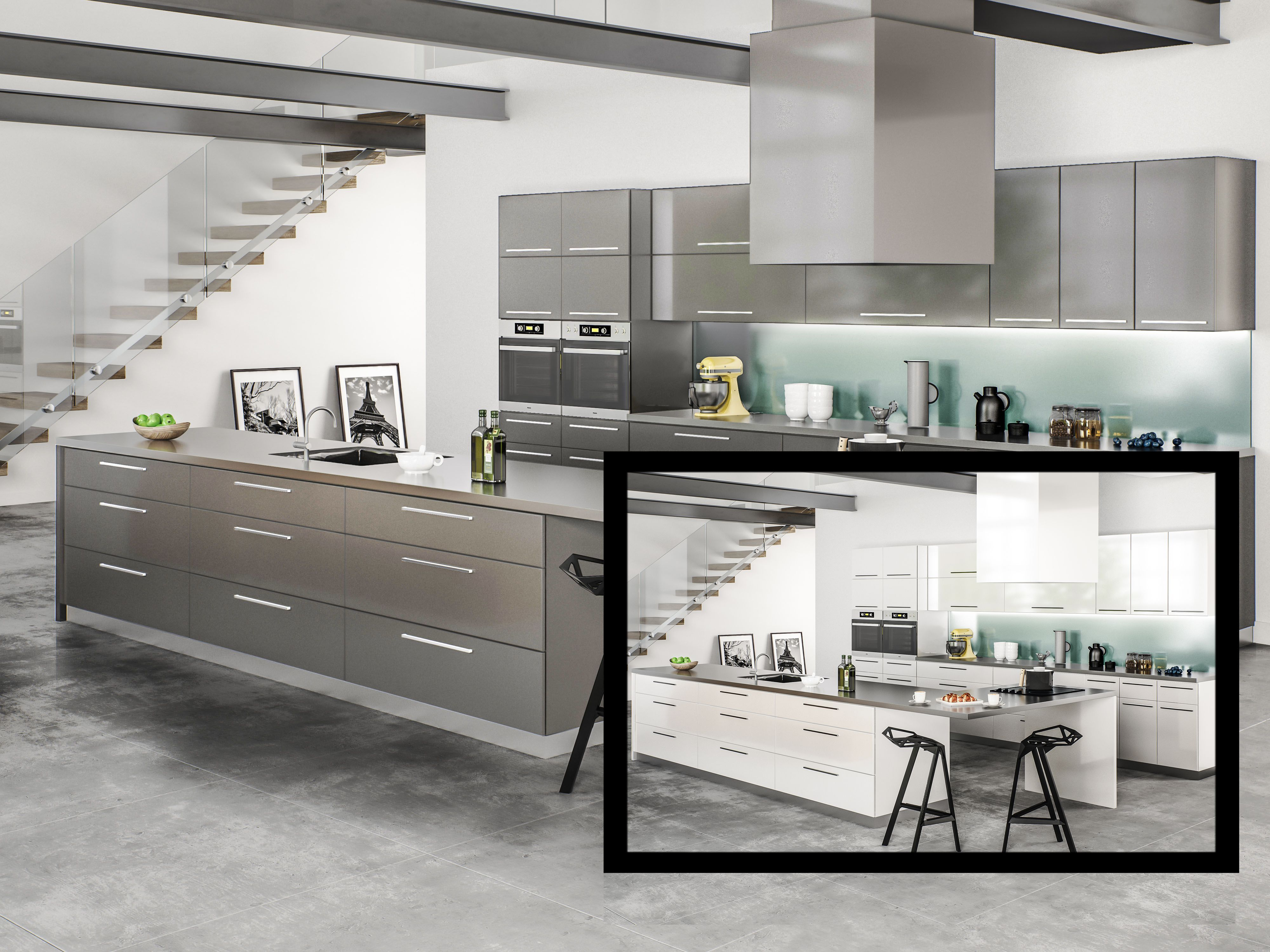 What A Difference Color Can Make Here The Milano Full Overlay Contemporary Door Style Fr Solid Wood Kitchen Cabinets Buy Kitchen Cabinets Solid Wood Kitchens