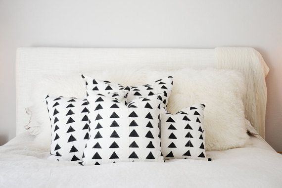 Tan & Black Triangle Mudcloth Pillow Cover by MINImalist2015