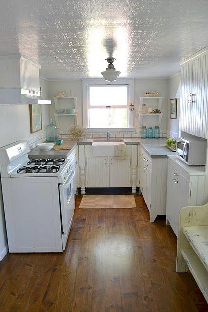 Textured wallpaper on ceiling, paint with high gloss paint. Looks like tin!   Decor   Farmhouse ...