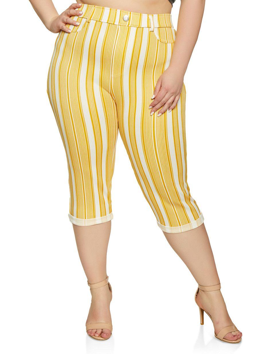 Plus Size Striped Capri Pants in 2019 | Capri pants, Pants ...