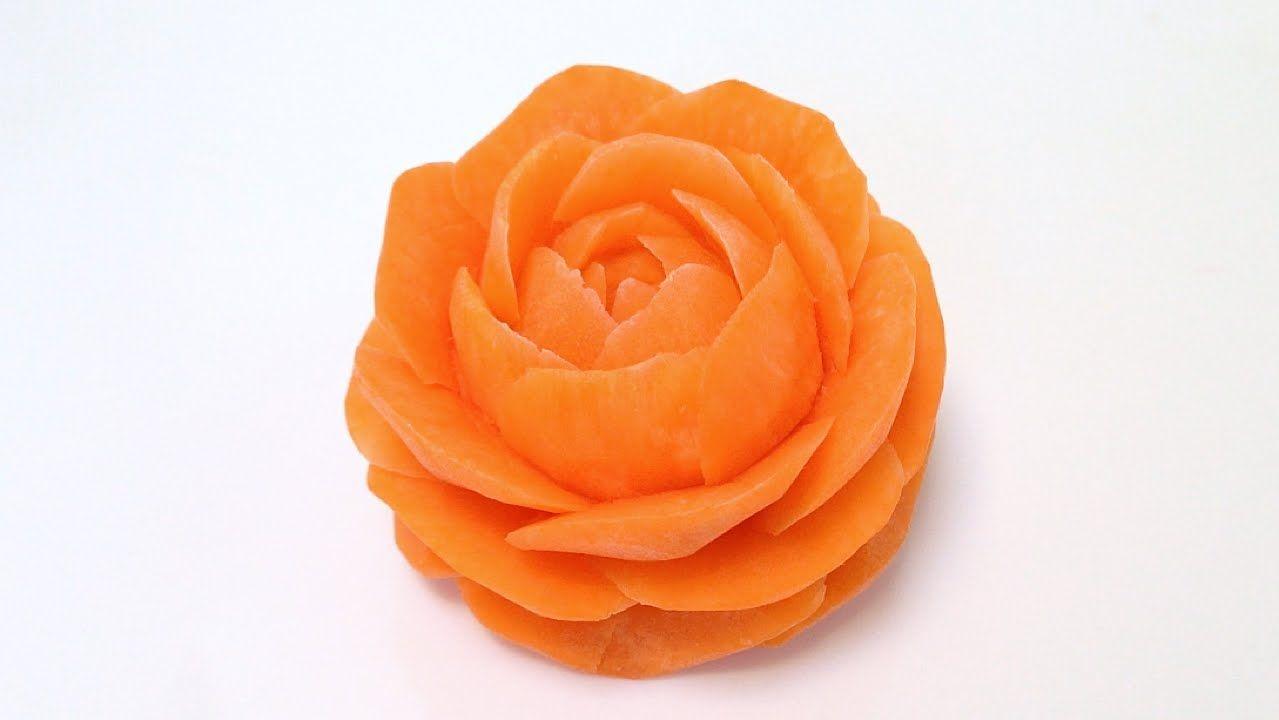 Orange rose flower from carrot advanced lesson by mutita art of