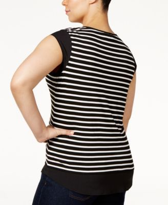 7eba7a459ab74 Calvin Klein Plus Size Layered-Look Striped T-Shirt - Black 0X ...