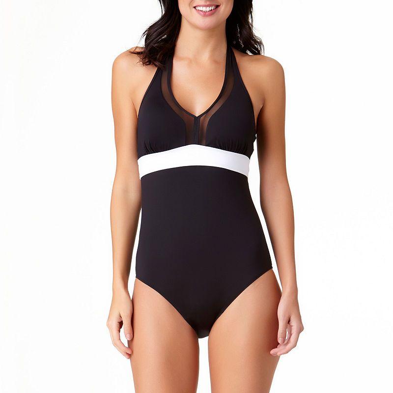 358ffab8a5a Liz Claiborne Halter Mesh One Piece Swimsuit | Products | One piece ...