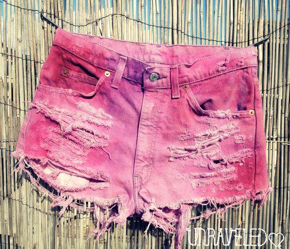Tie Dyed Denim Shorts (MEDIUM). $65.00, via Etsy.