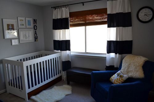 Baby Boy Modern Nursery Navy Blue White Striped Curtains, White Wood Crib,  Art Collage