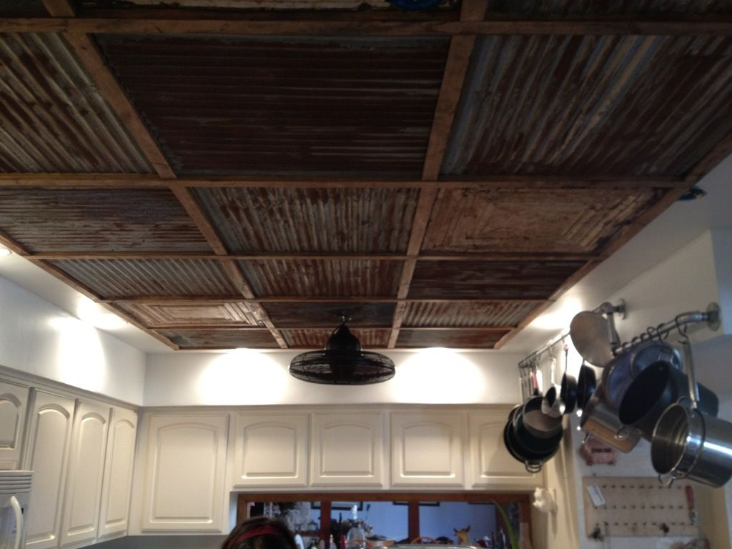 Reclaimed Corrugated Steel And Wood Ceiling Metal Ceiling