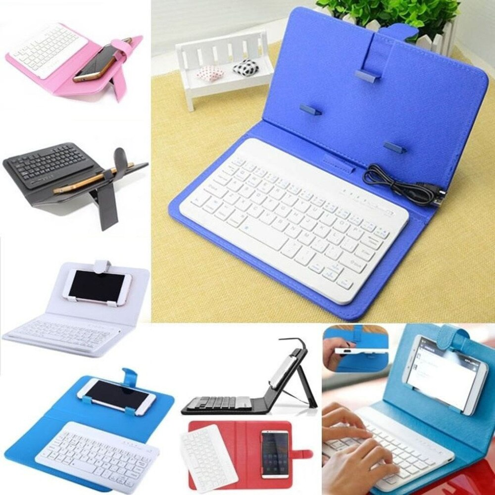 Mini Android Mobile Phone Bluetooth Keyboard Portable Pu Leather Case Wireless Protective In 2020 Bluetooth Keyboard Leather Case Mobile Phone