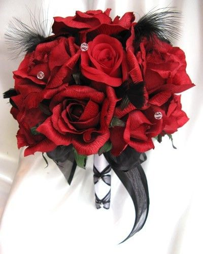 Beauty And The Beast Red Rose Bouquet Replace With Gold Feathers