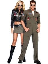 Women S Bomber Jacket And Men S Flight Suit Top Gun Couples Costumes