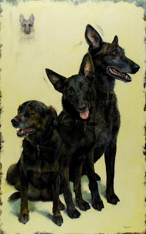 "Dana Hawk - Rioux Dogs (Thelma, CoCo, Thor and Bella), o/c, 20x32"""