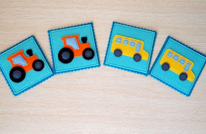 Transport Memory Matching Game, Matching Pairs Game, Felt ...