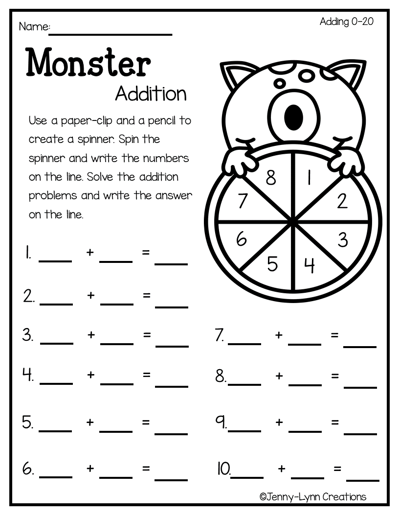 hight resolution of This fun Halloween addition packet will have your students enjoying math.  It contains a variety of Halloween themed add…   First grade math