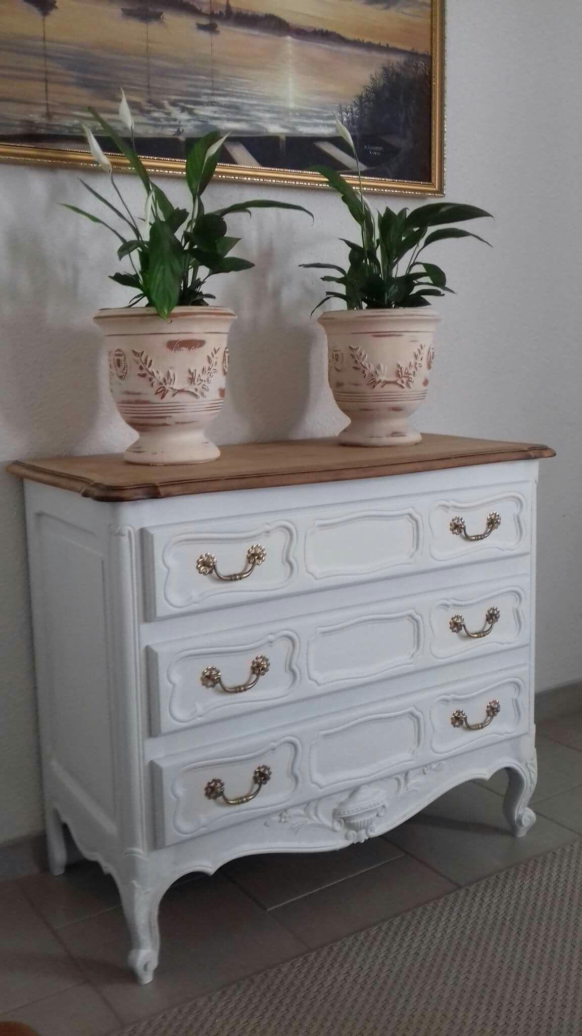 Renovation Relooking Commode Meuble Ancien Bois Commode Poncer Peint Peinture Sol Blanche Poignees Laiton Comoda