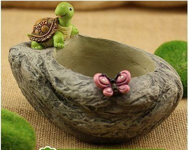 Resin Stone Figurine With Turtle Home Garden Fashion Flower Planter Pot Best Gift For The Buddhist