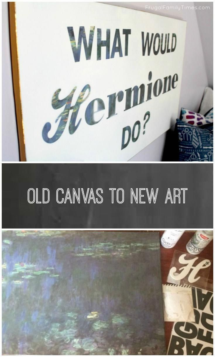"Old Canvas to New Art for a Teen Bedroom: ""What Would Hermione Do?"" images"