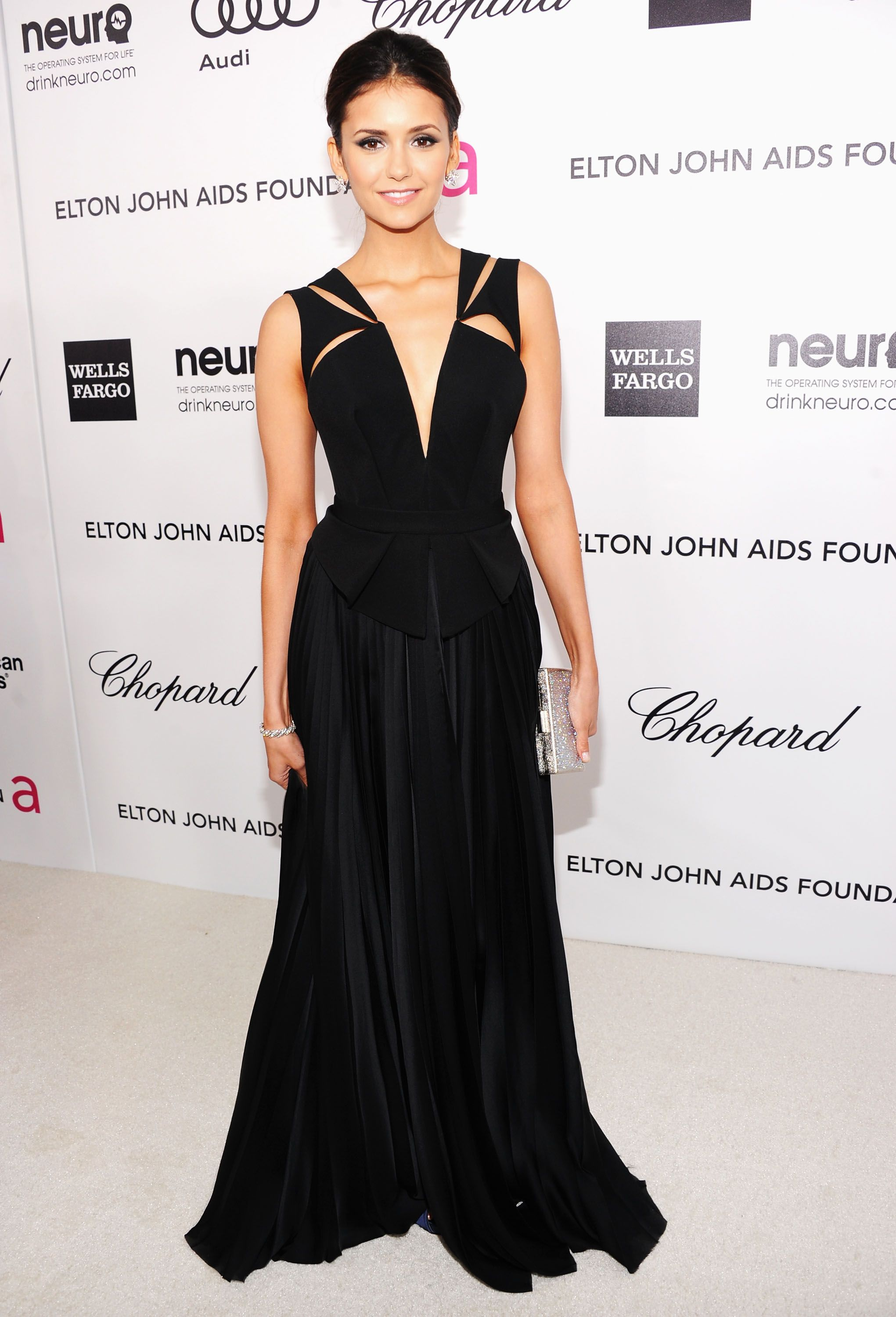 98a0760d4ac75 Nina Dobrev wearing J. Mendel at 20th Annual Elton John AIDS Foundation  Academy Awards Viewing Party.  RedCarpet