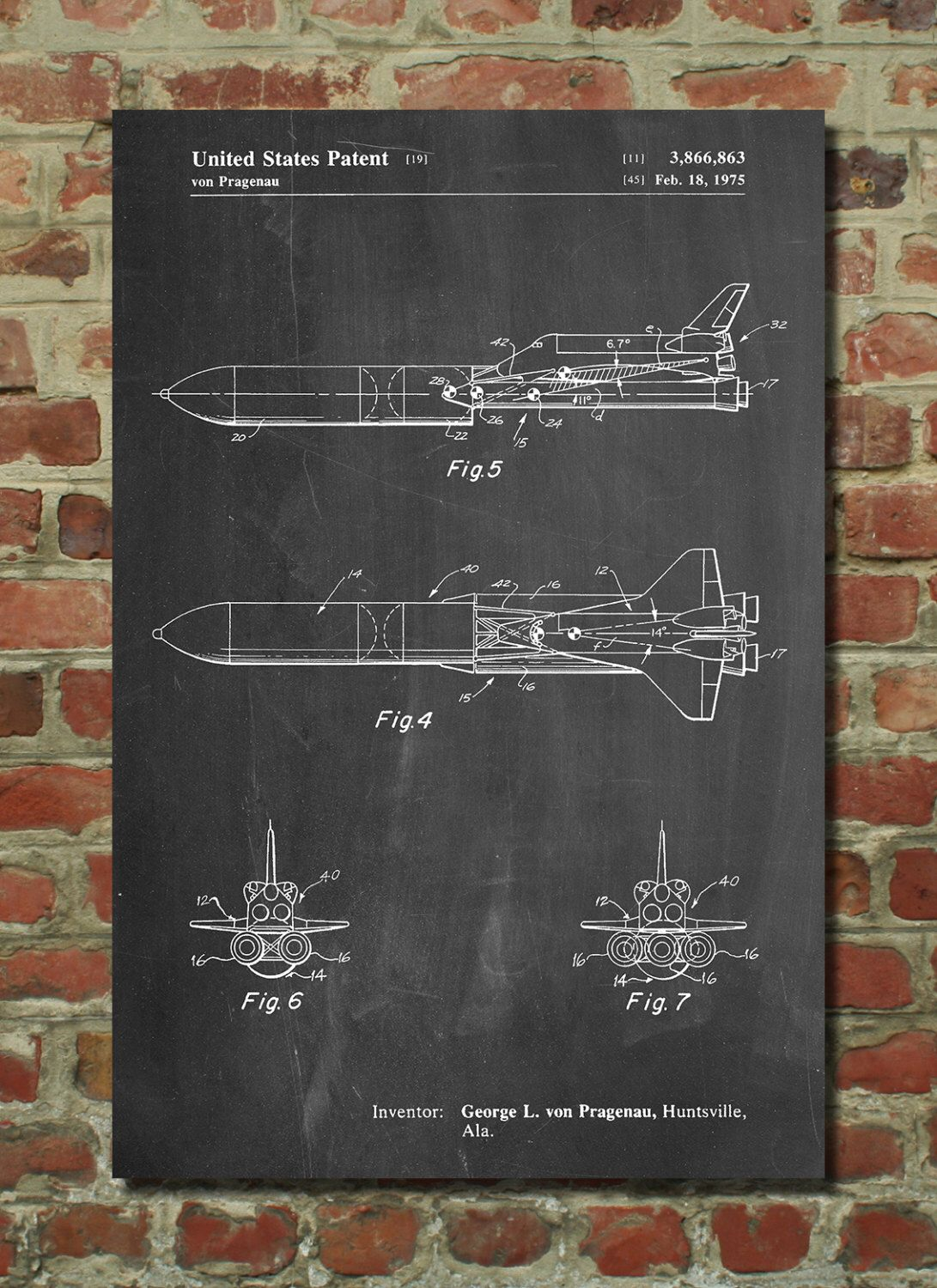 Nasa space shuttle enterprise patent poster outer space for Outer space decor