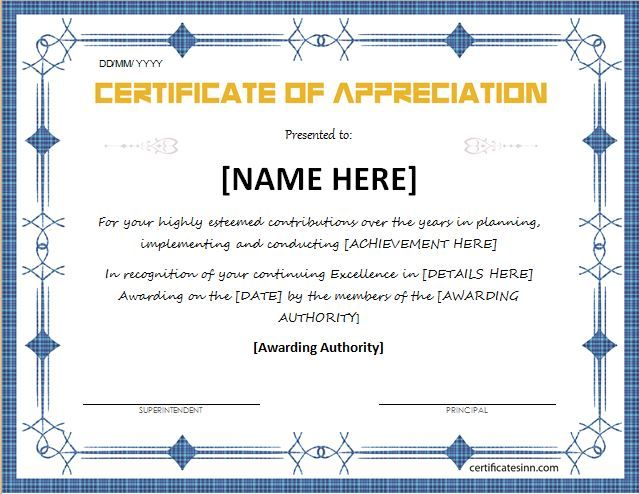 Certificate of Appreciation for MS Word DOWNLOAD at   - Free Professional Certificate Templates