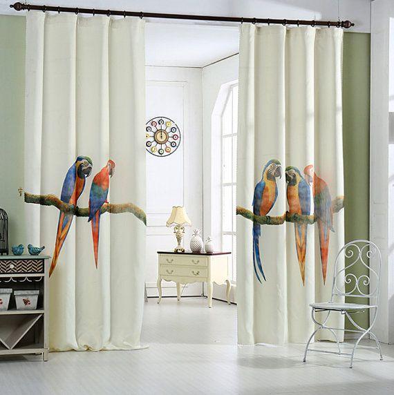 Papagei-Fenster-Vorhang-Panel 51 oder 74W von HereIsTheShop - gardinen modelle für wohnzimmer