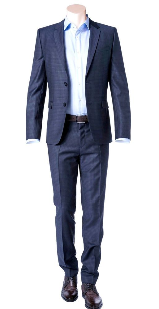 44739caacb Hugo Boss Extra Slim Fit 2 Piece Men's Suit 100% Virgin Wool Astian/Hets  50321255 423 Blue Check byHUGO. Style No. 50321255 423.