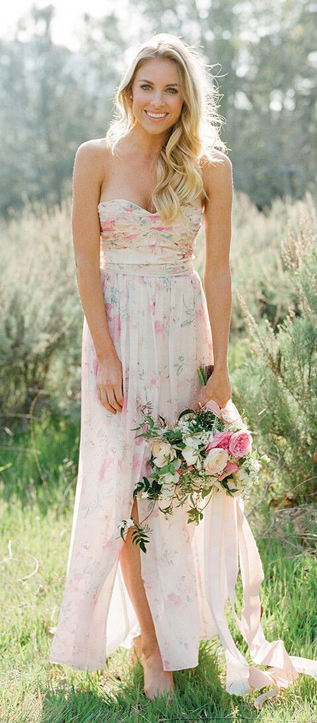 Floral print wedding dresses   Pretty Garden Wedding Dress Ideas  Garden wedding dresses
