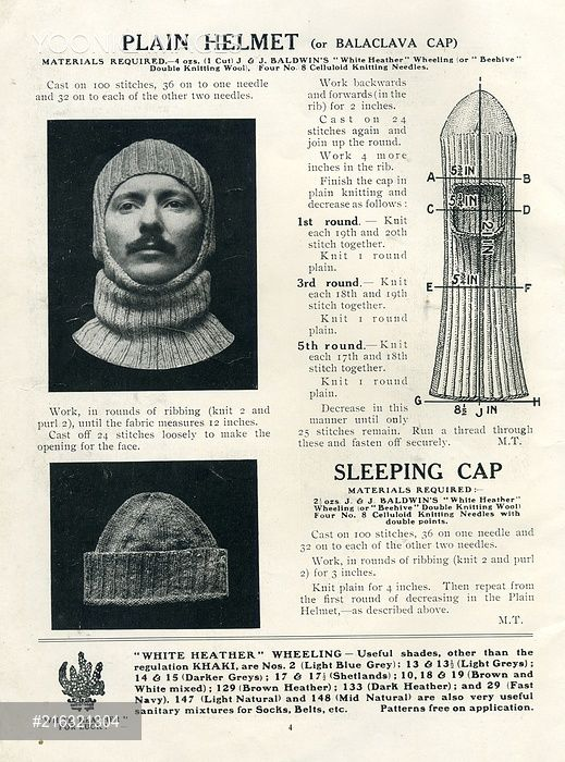 Balaclava And Sleeping Cap Knitting Patterns Ww1 Ww1 Women