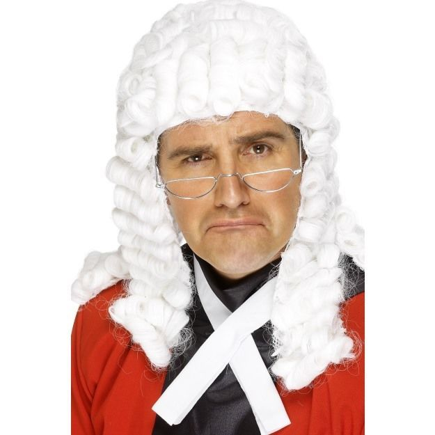 White Smiffys Fancy Dress Judge Costume Accessory Court Wig
