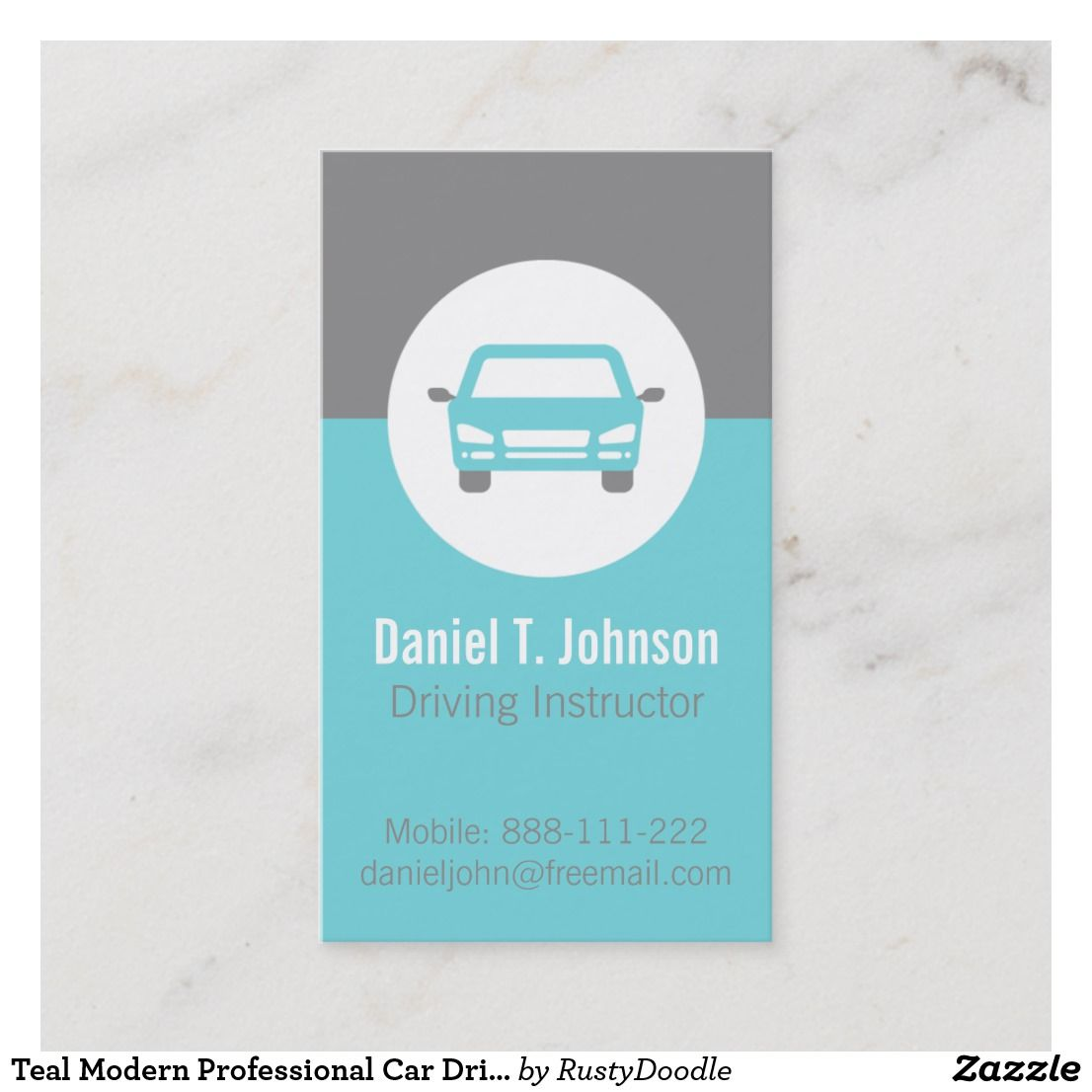 Teal Modern Professional Car Driving Instructor Business Card Zazzle Com Driving Instructor Small Luxury Cars Printing Double Sided