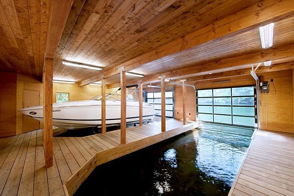 Simple Warm Design Boathouse In Ontario Floating House House