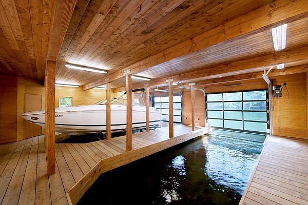 Simple Warm Design Boathouse In Ontario