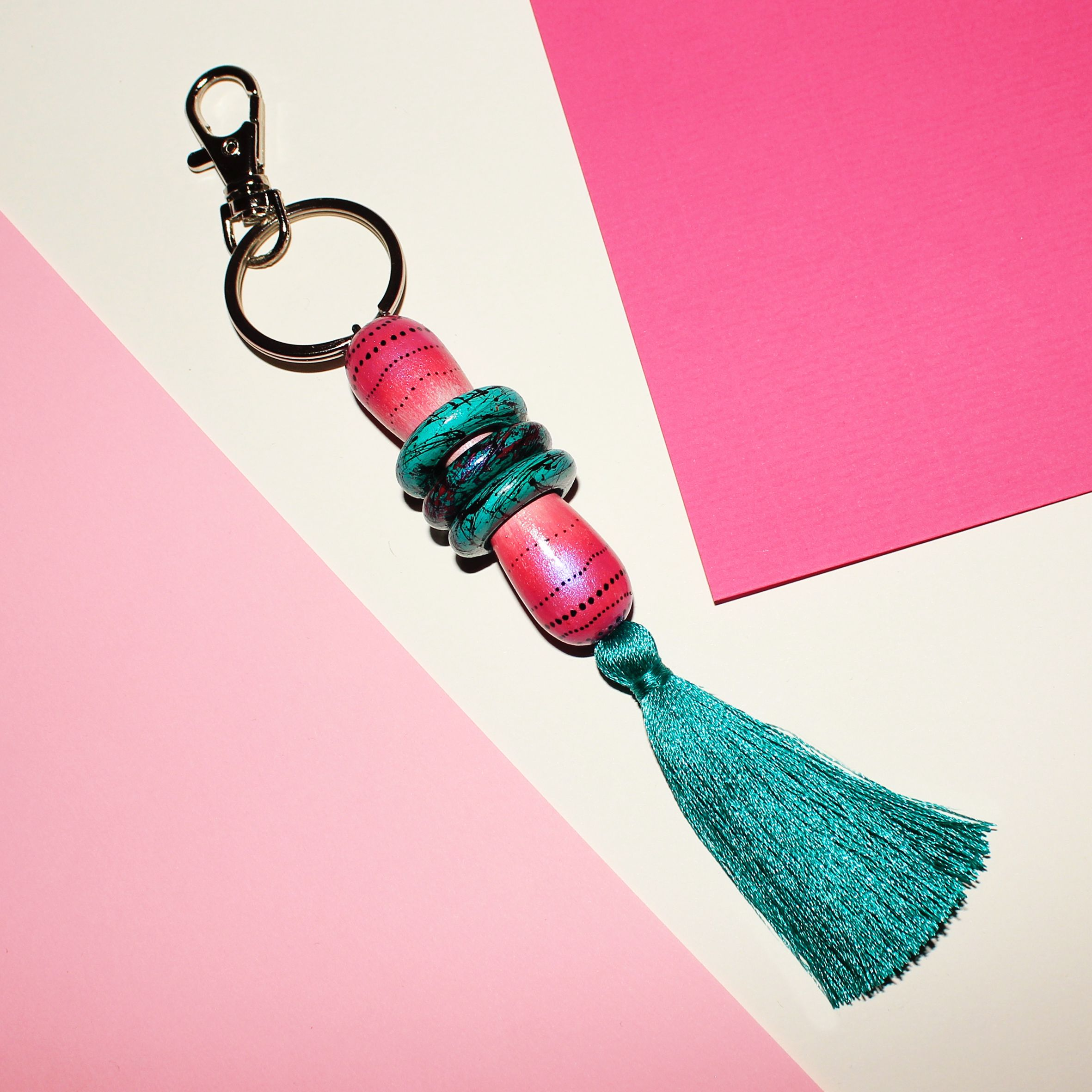 Textile Candy studio, wooden keyring, wooden key chain ...