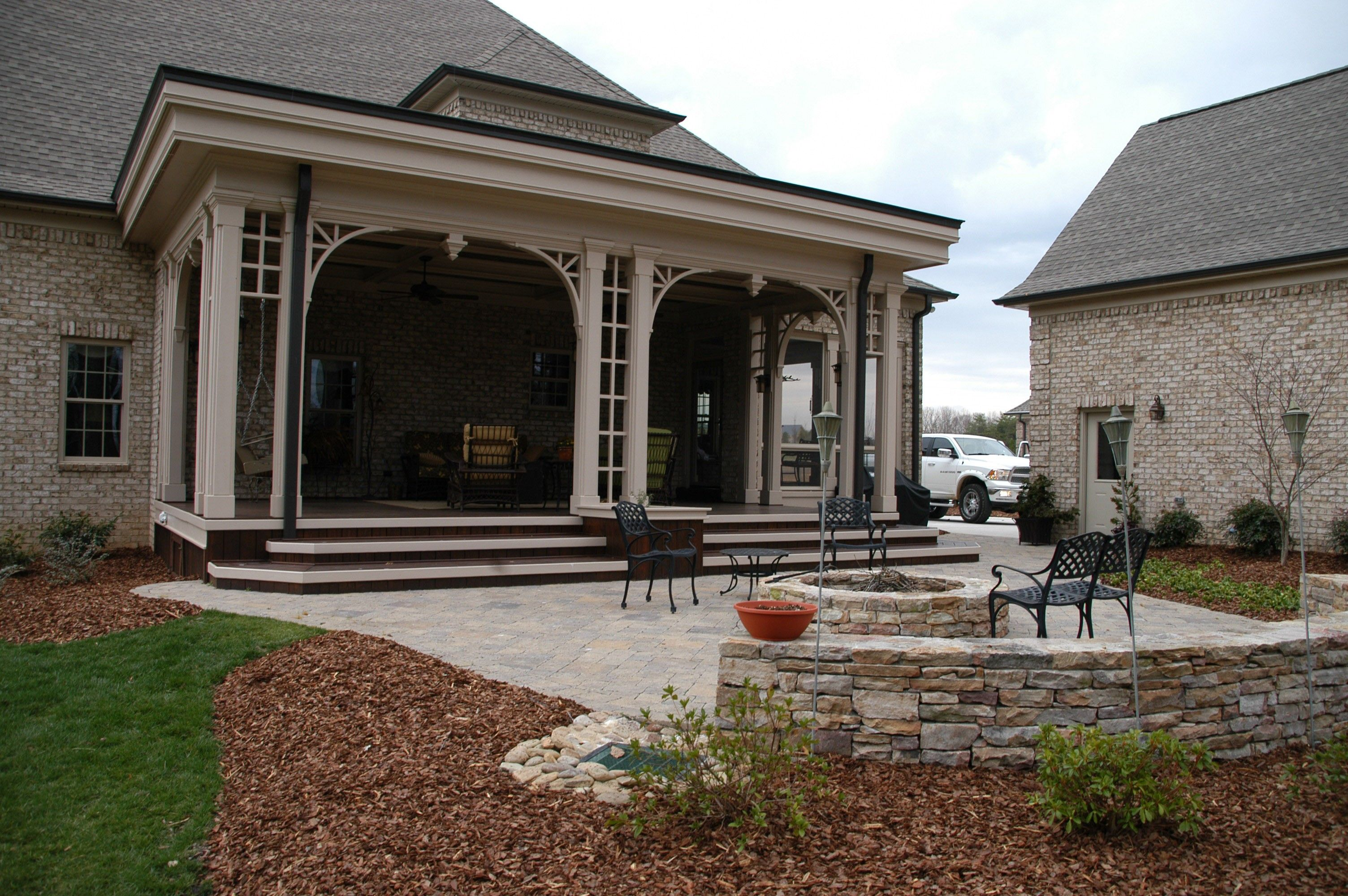 like the extended patio area with fire pit and seating on ... on Extended Covered Patio Ideas id=20754