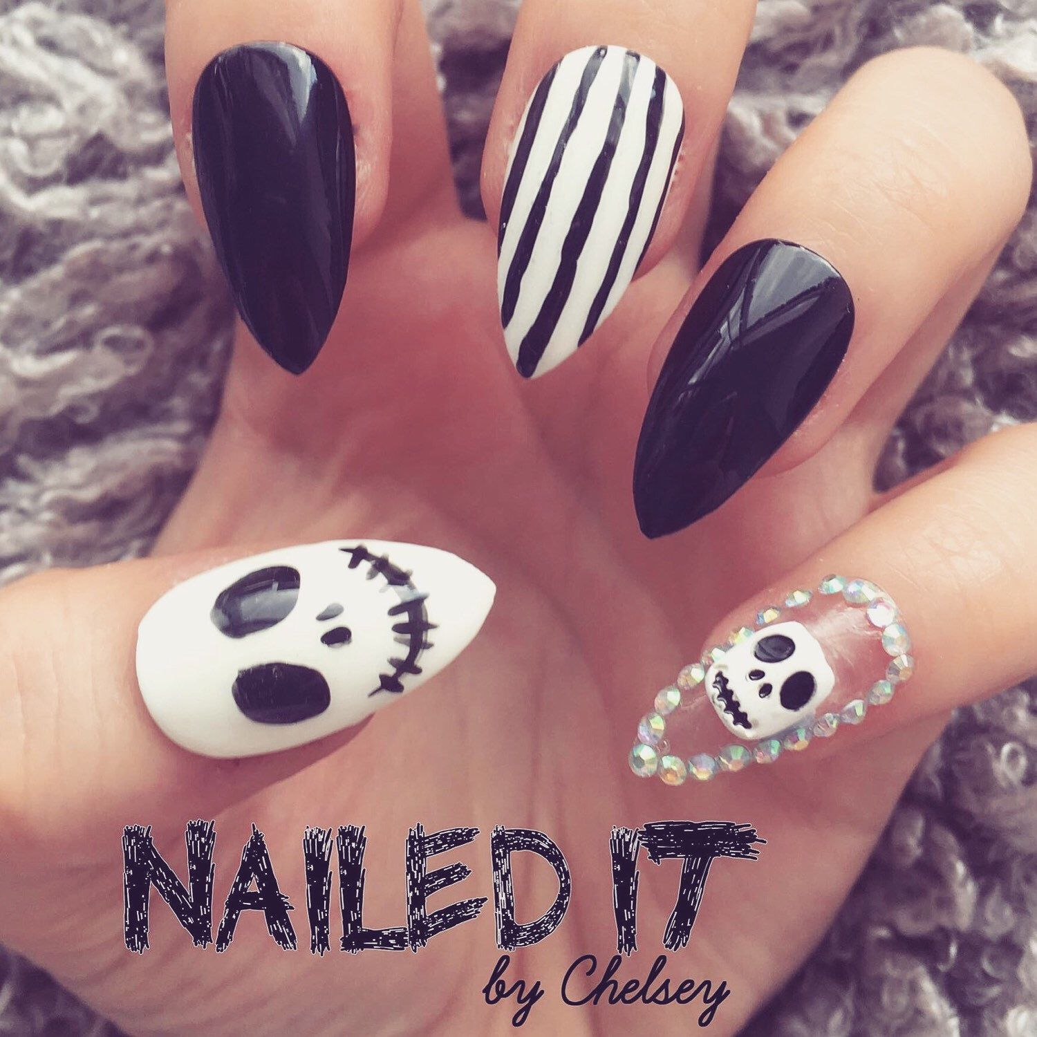 NAILED IT! Hand Painted False Nails - Nightmare Before ...