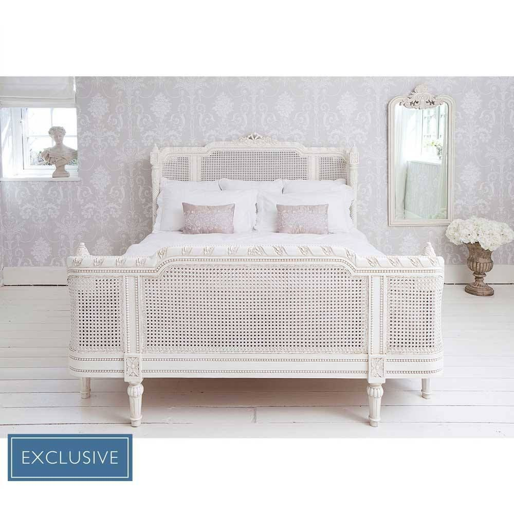 Innenarchitektur von schlafzimmermöbeln provencal lit lit white rattan bed  luxury bed luxurybeddinggrey