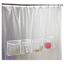 Walmart Zenith Products Three Pocket Shower Liner In Frosty Clear