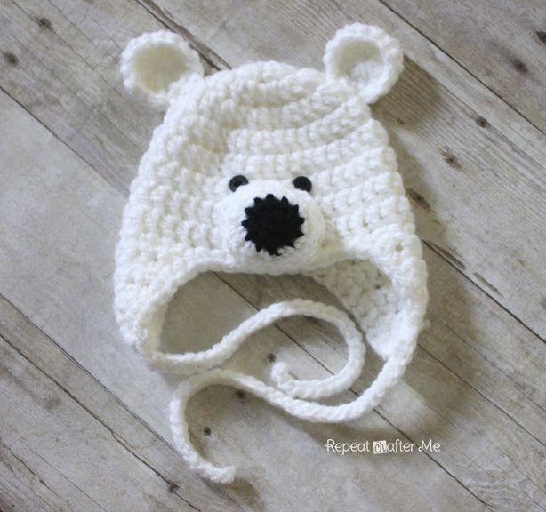 Crochet Polar Bear Hat Pattern   Crafts   Pinterest   Oso polar ...