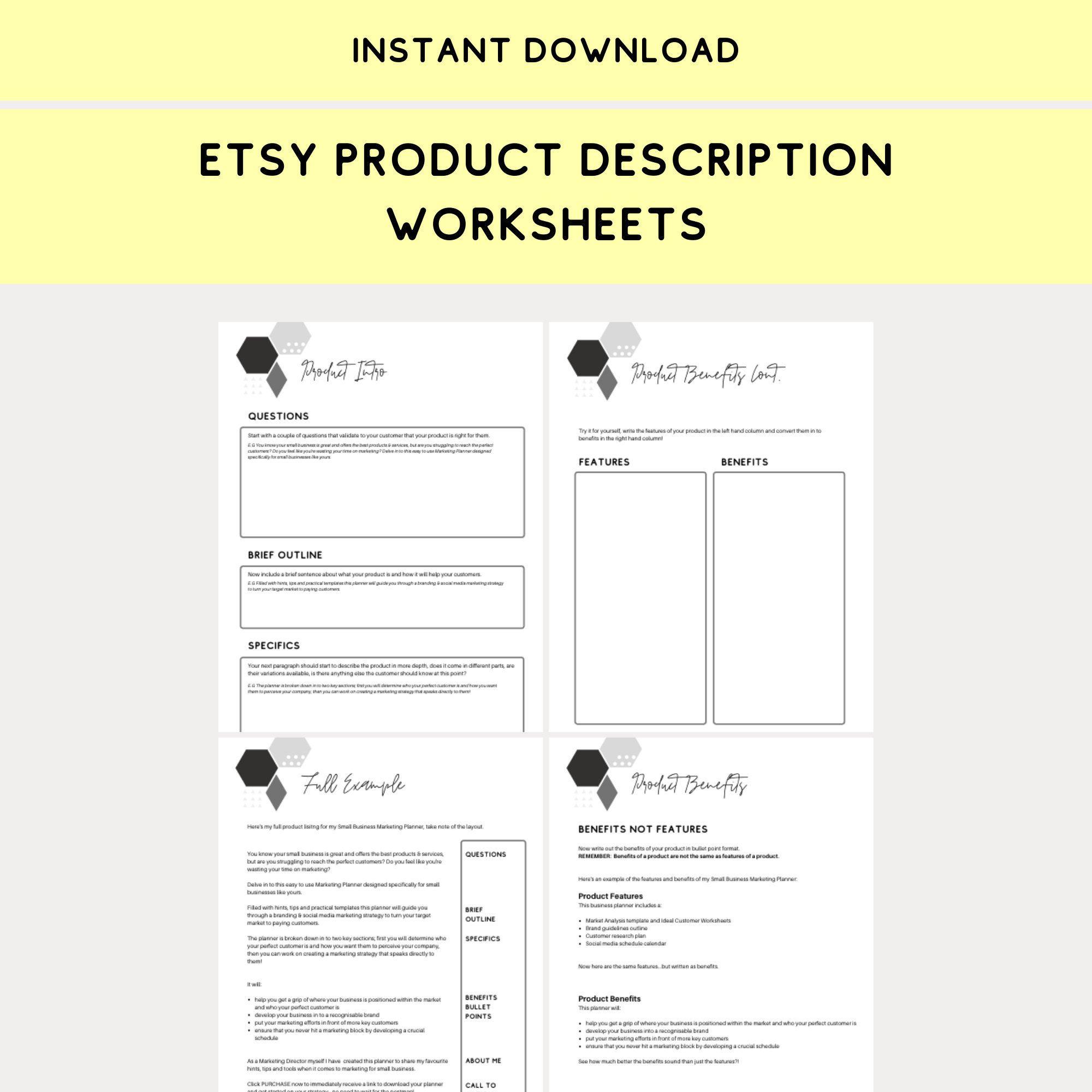 Product Description Template Guide Etsy Planner Downloadable