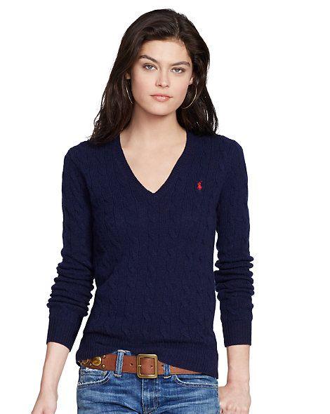 9c14579723c7f5 Cable-Knit V-Neck Sweater - V-Necks Sweaters - RalphLauren.com, Hunter  Nave, SZ SMALL