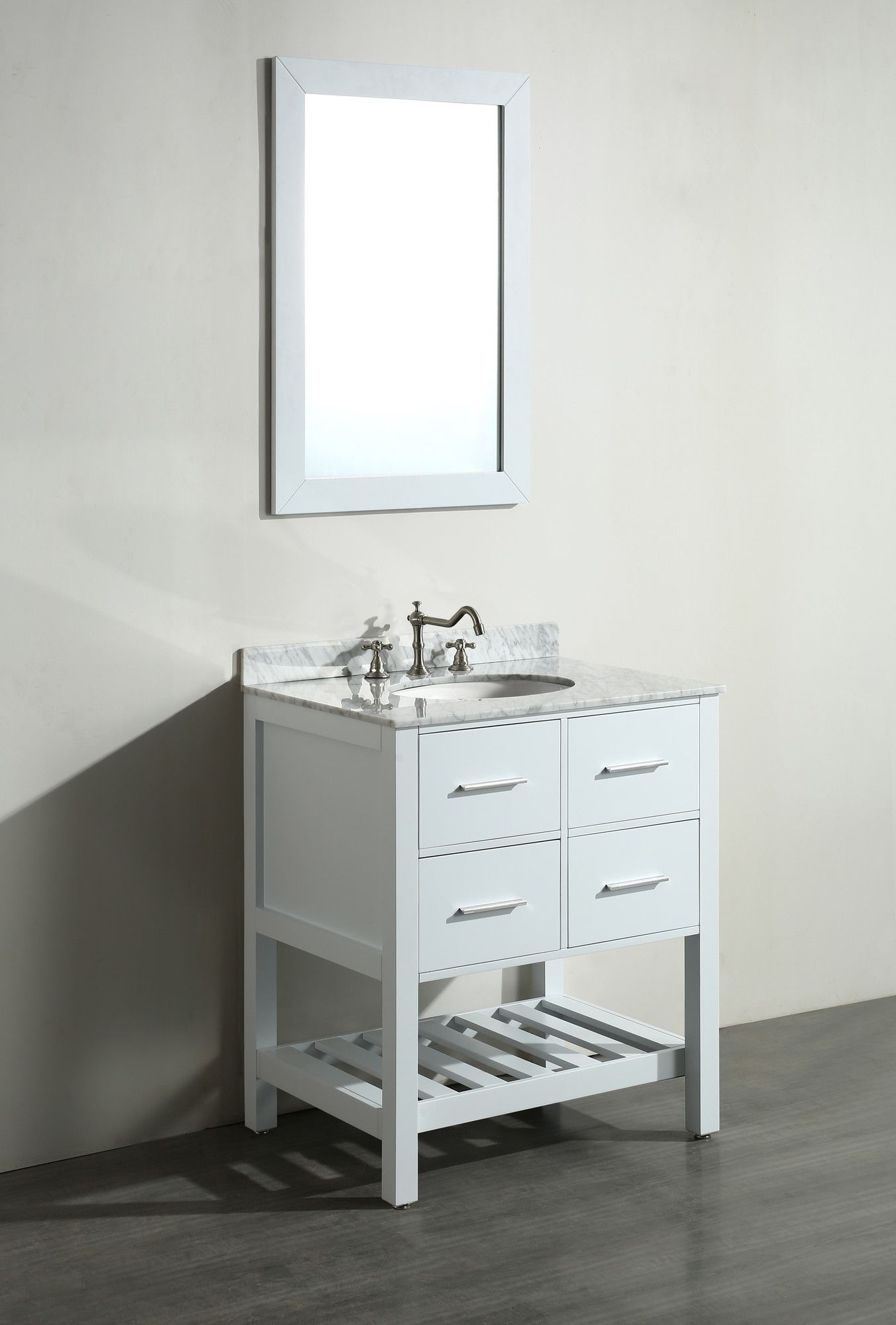 "Bosconi Contemporary 30"" Single Bathroom Vanity Set With Mirror Glamorous Bathroom Cabinet Reviews Design Decoration"