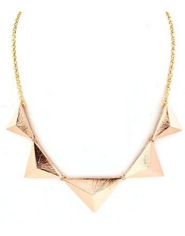 Love Hearts and Crosses - Pyramid Triangle Collar Necklace - Rose Gold - Shop Jewellery - Quirky Fashion Jewellery and Accessories