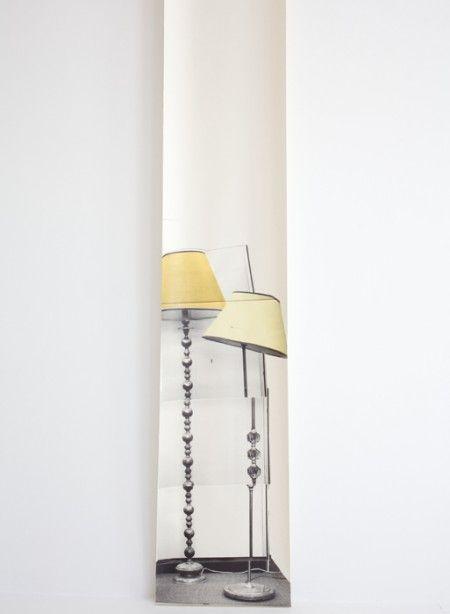 Panneau De Papier Trompe L Oeil Semi Drum Lamp X 2 Par Deb Bowness Lamp Wallpaper Mural Wallpaper