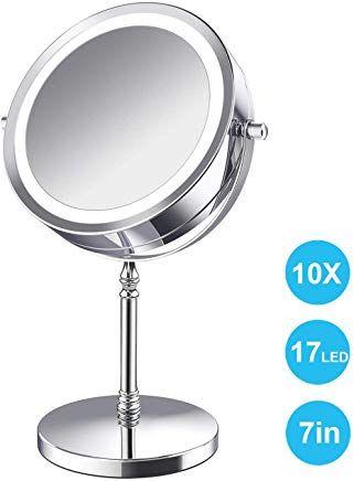 Amelar Led Kosmetikspiegel Beleuchtet 10x Vergraaÿerungsspiegel Im Badezimmer7 Zoll Vergraaÿerung Makeup Spiegel Mit Beleuchtung Doppel Mirror Table Mirror Led