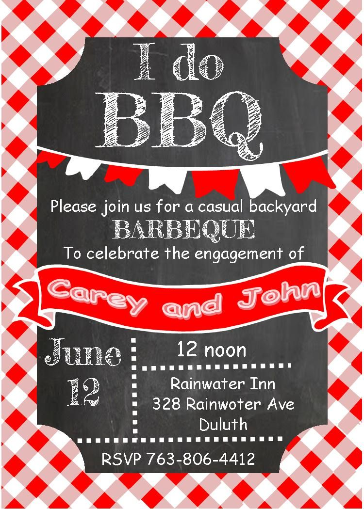 Gingham And Chalkboard Bbq Invitations  Design  Bbq And Cloth