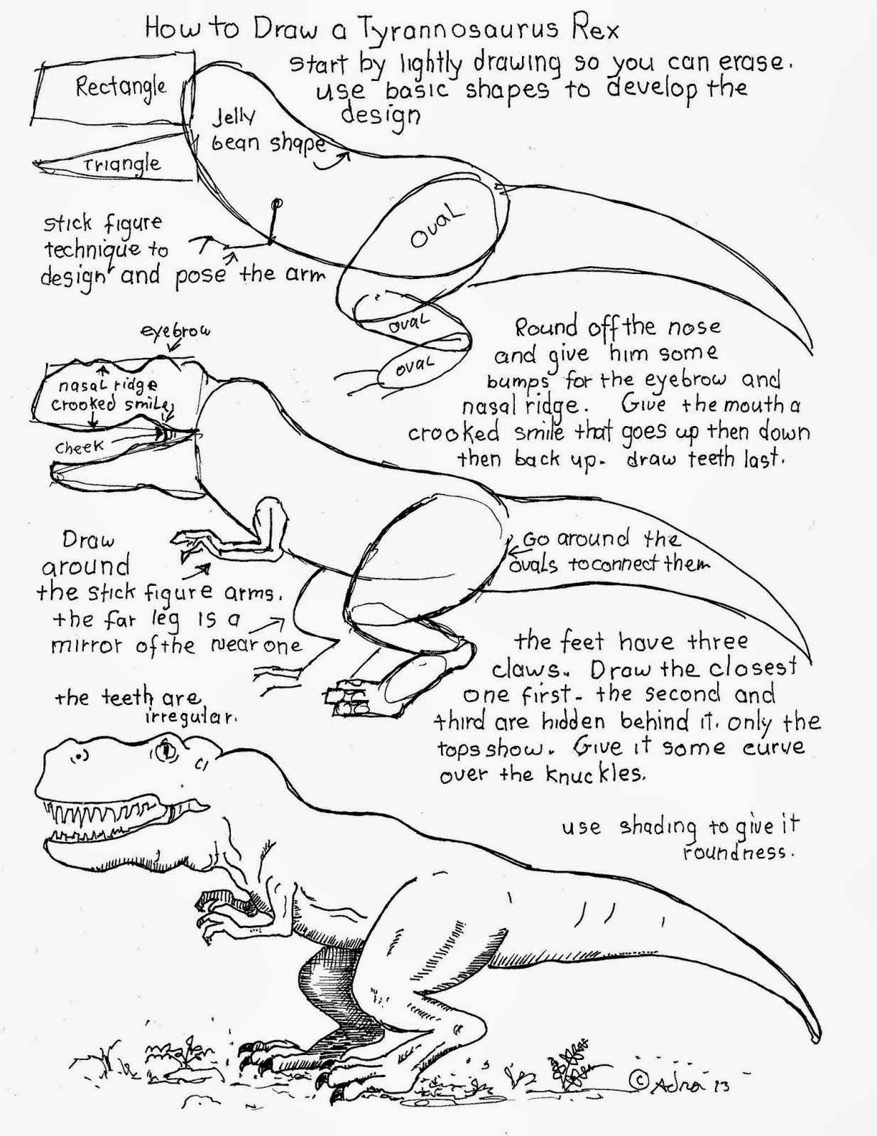 how to draw a simple tyrannosaurus rex
