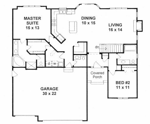 The ranch is efficient and affordable with a more open 2 bedroom house plans with open floor plan